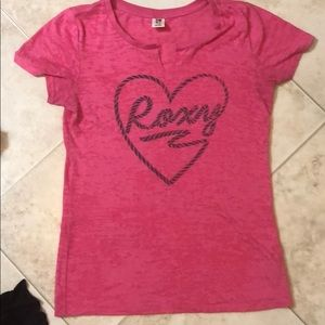 Roxy pink t-shirt Large good used condition